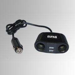 Doppelsteckdose 12V mit Kabel und USB-Anschluss